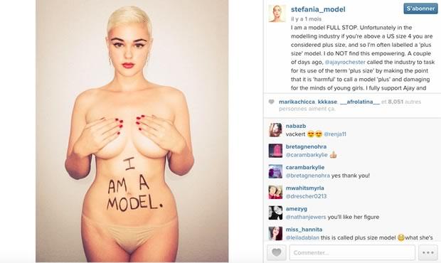 Stefania Grandes, une mannequin grande taille pose afin d'être considérée à part entière comme une mannequin.